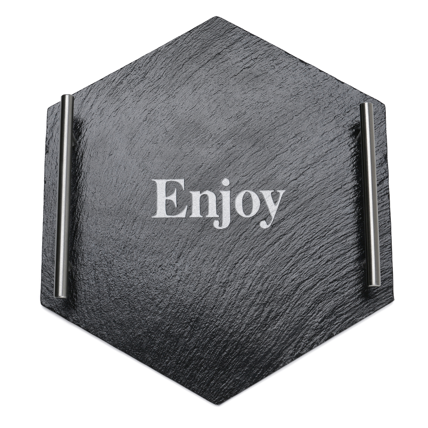 Slate Serving Tray With Metal Handles Hexagon